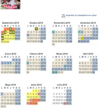 CALENDARIO DEL CURSO 2015-2016