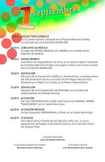 PROGRAMA DÍA 1 DE SEPTIEMBRE   Feria de San Agustín 2015  LINARES