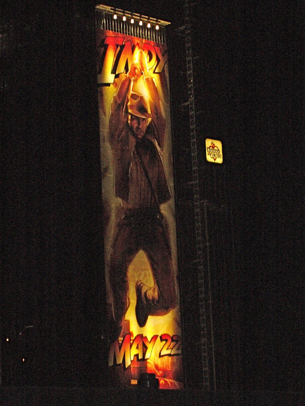 Giant Indiana Jones Kingdom of the Crystal Skull billboard night
