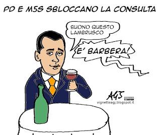 Di Maio, Barbera, M5s, consulta, satira vignetta
