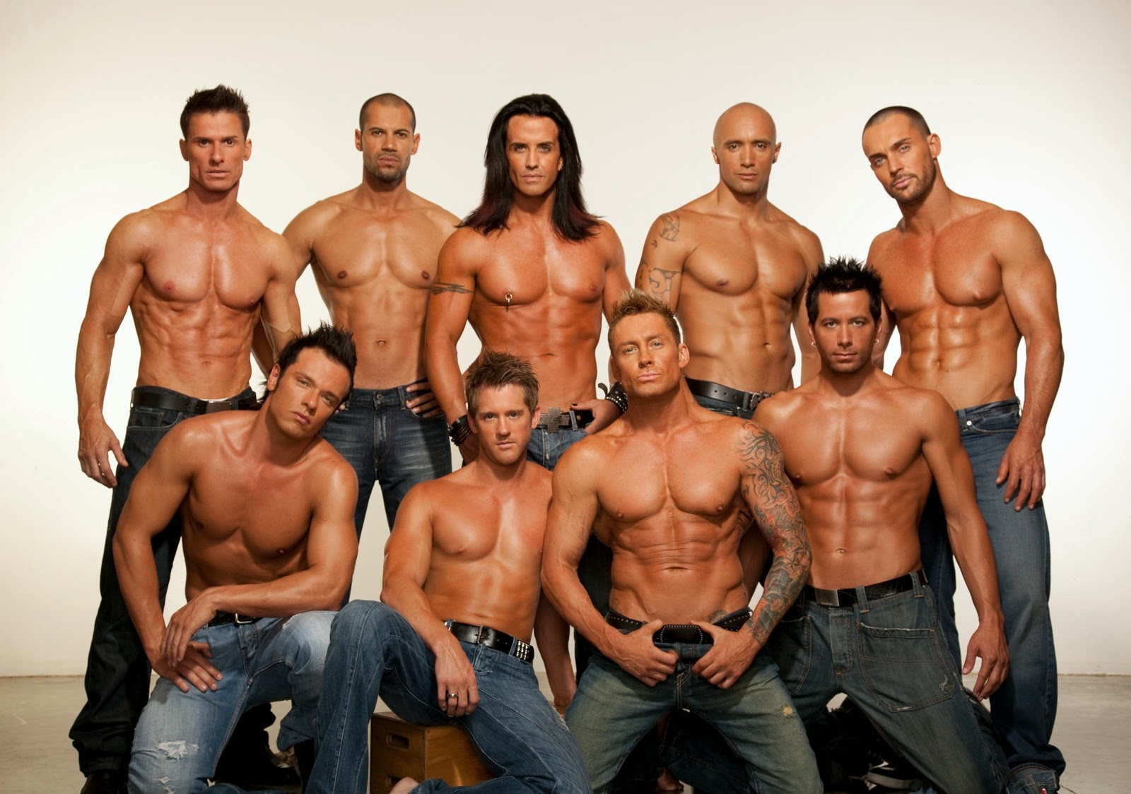Thunder from Down Under male strippers in Vegas shooting