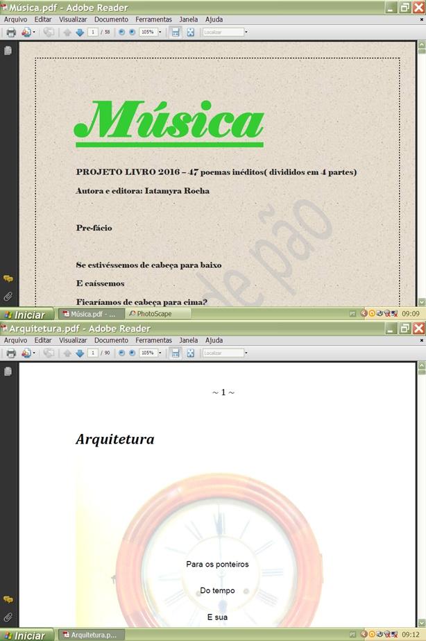 """Meus livros """"Arquitetura""""(poemas) e """"Música""""(micropoemas e poema bônus)"""