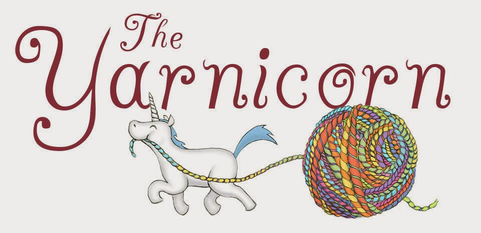 The Yarnicorn logo--unicorn pulling a ball of yarn