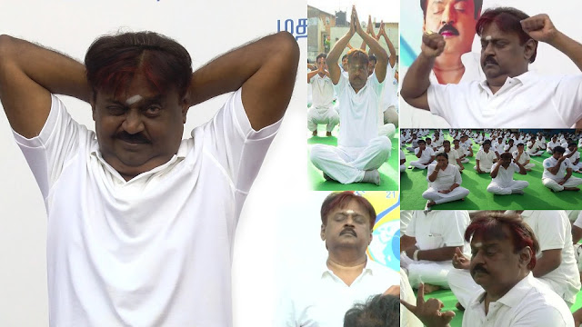 Vijayakanth Performing Yoga on a International Yoga Day