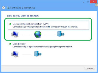 Connect using a virtual network (VPN) connection trough the Internet