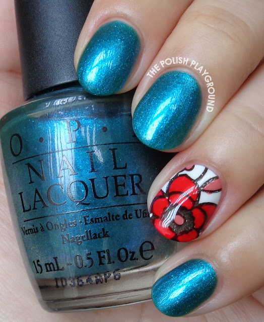 Turquoise with Floral Stamping Decal Accent Nail Art
