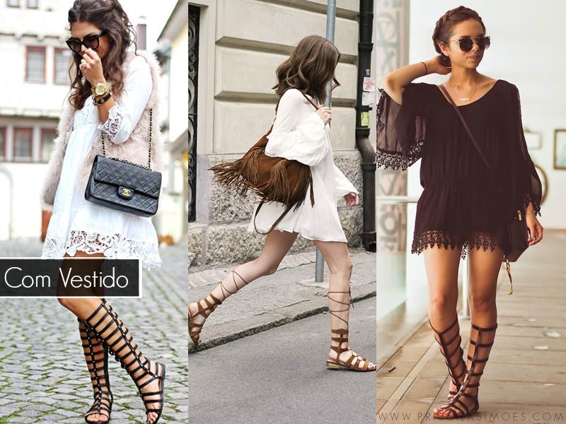 sandálias gladiadoras com vestido
