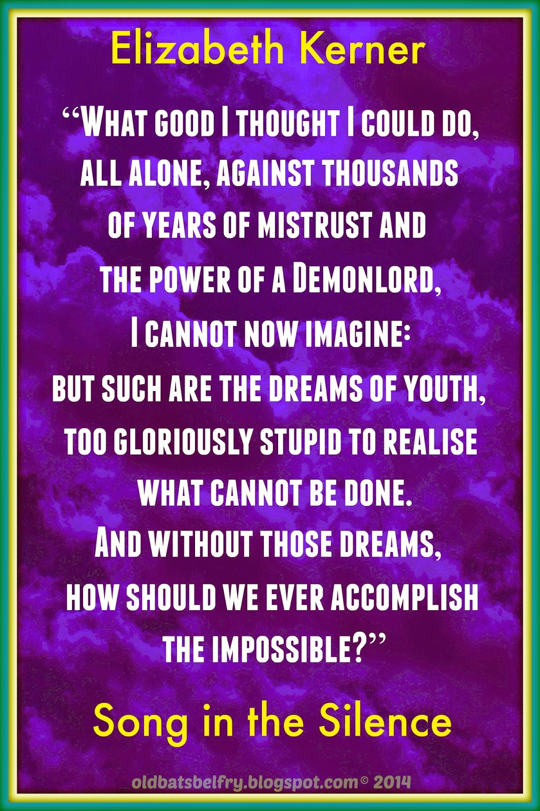 Quote about the dreams of youth by Elizabeth Kerner on a background design by Mulluane