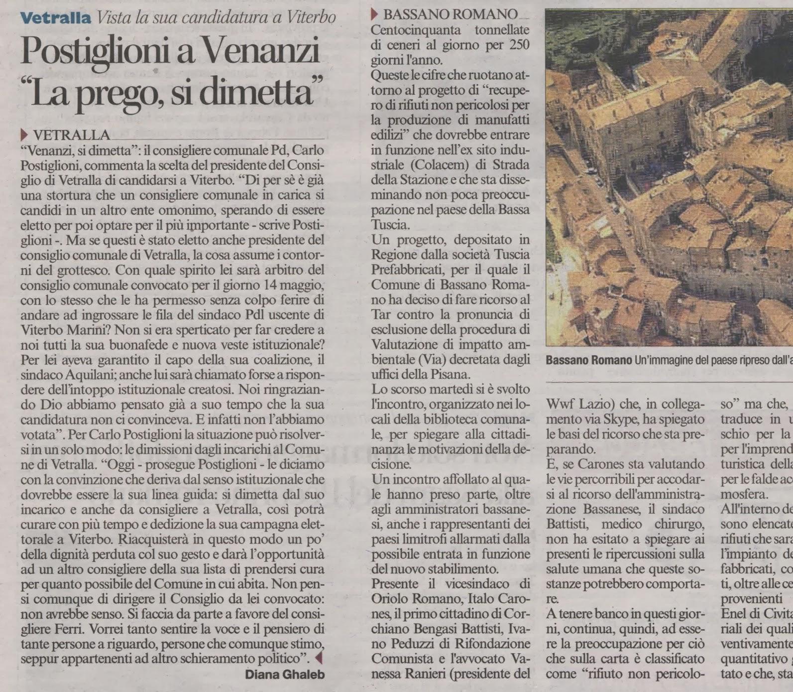 """Vetralla: Postiglione a Venanzi """"La prego, si dimetta"""""""