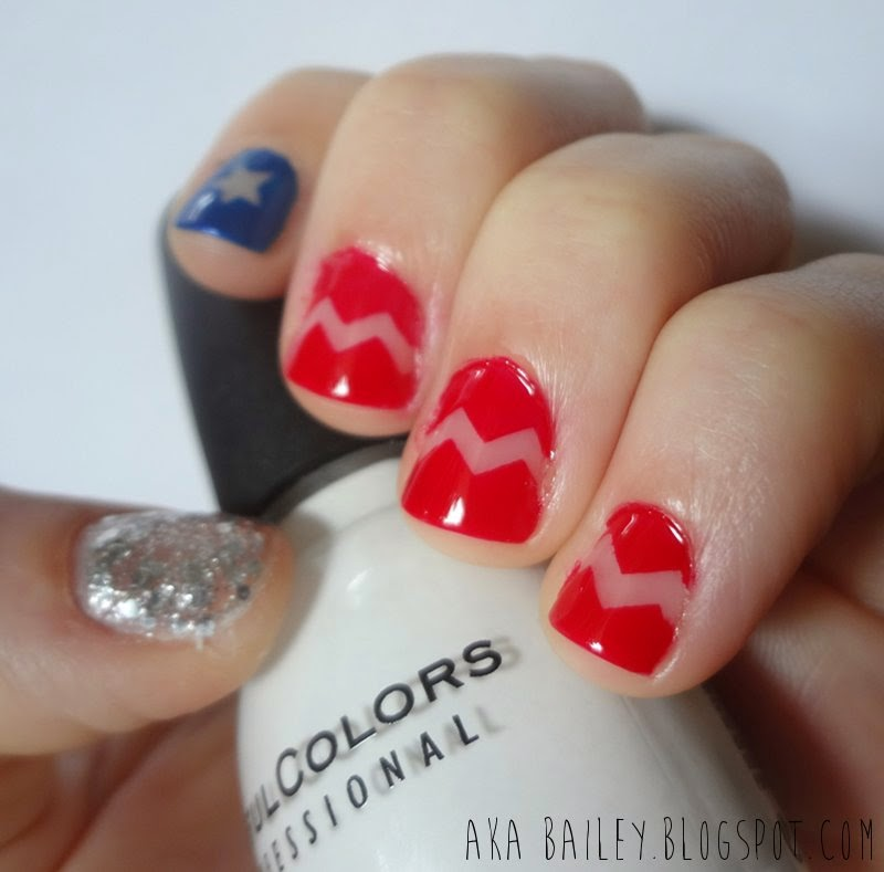 Blue star, red chevrons, sparkly silver thumb nail