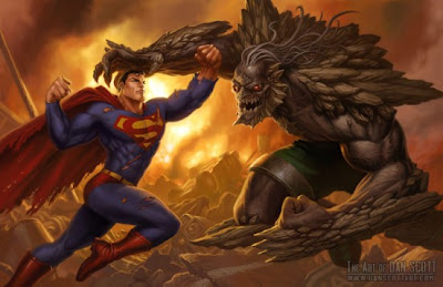 Superman lutando contra o Apocalypse