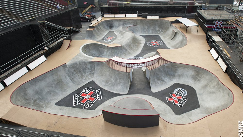 I skate therefore i am x games 17 superpark unveiled for Indoor skatepark design uk