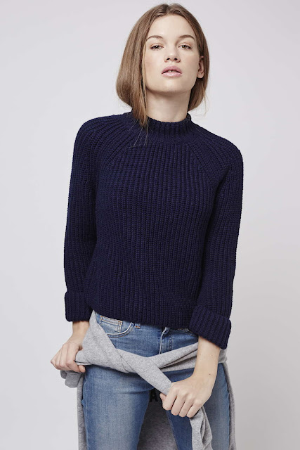 navy thick rib jumper, funnel neck navy rib jumper,