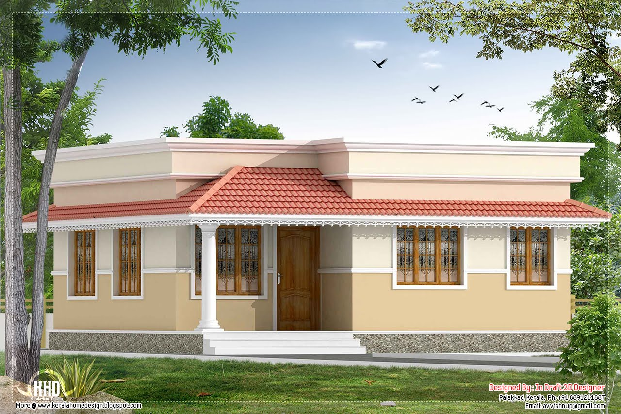 Kerala style 2 bedroom small villa in 740 kerala for Villa plans in kerala