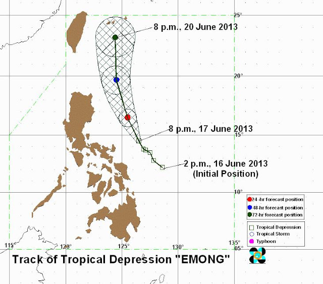 Track of typhoon Emong june 17, 2013