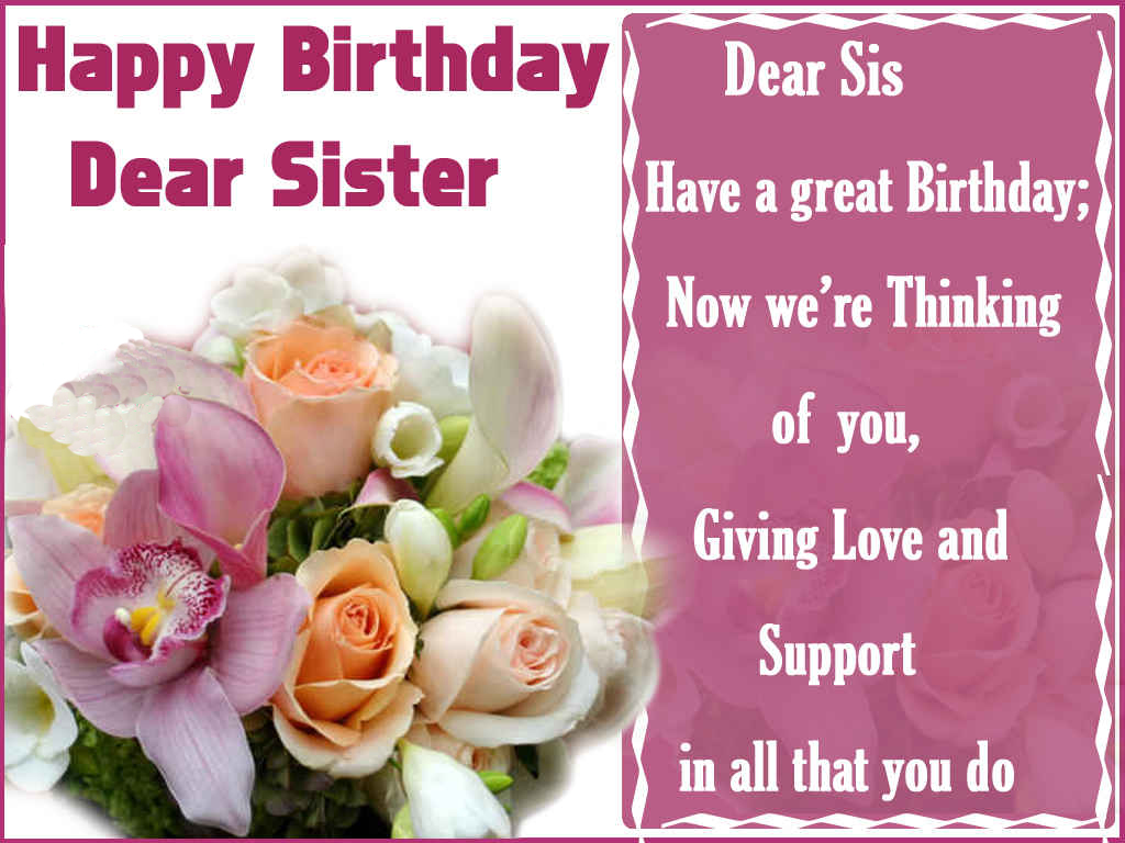 Happy Birthday Sister Cards gangcraftnet – Happy Birthday Card to My Sister