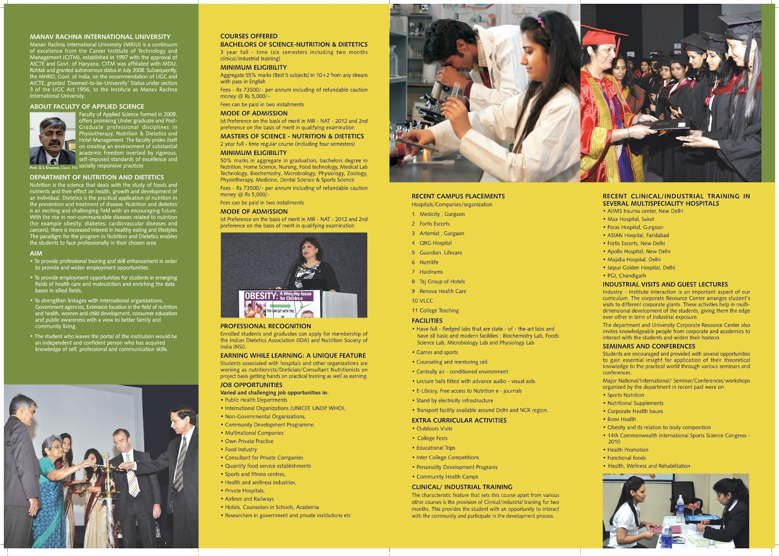 admission in bsc msc nutrition and dietetics brochure nutrition and
