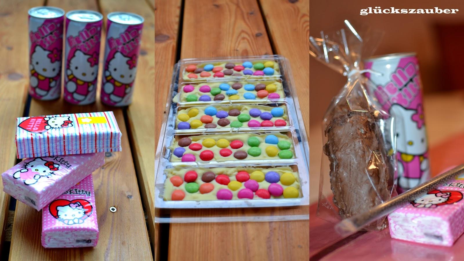 ... , selbstgemachte Smarties-Schokolade und einen Schokoladenstrohhalm