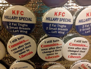 The offending buttons comparing Hillary Clinton to a hen