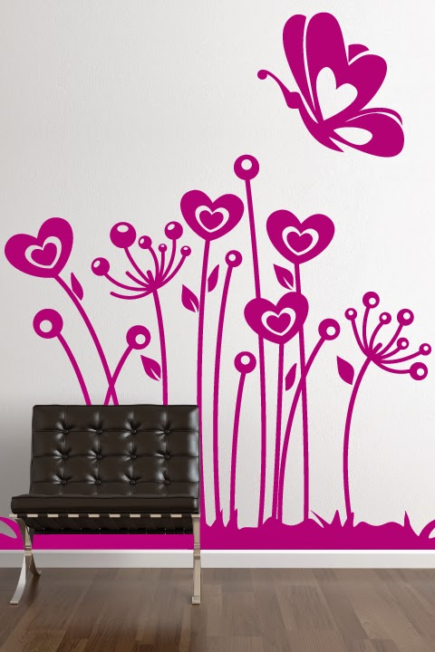 Wall Decals of heart shaped flowers and butterflies