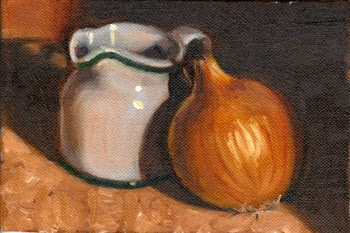 Oil painting of a white porcelain milk jug beside a brown onion.