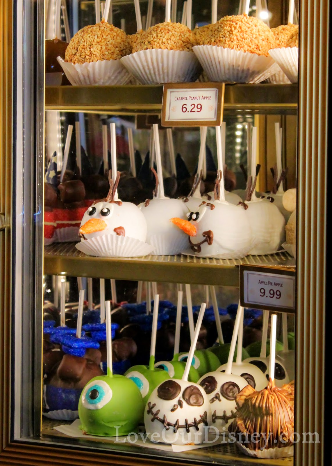 Check out these Disney themed candied apples at Disneyland's Candy Palace. LoveOurDisney.com