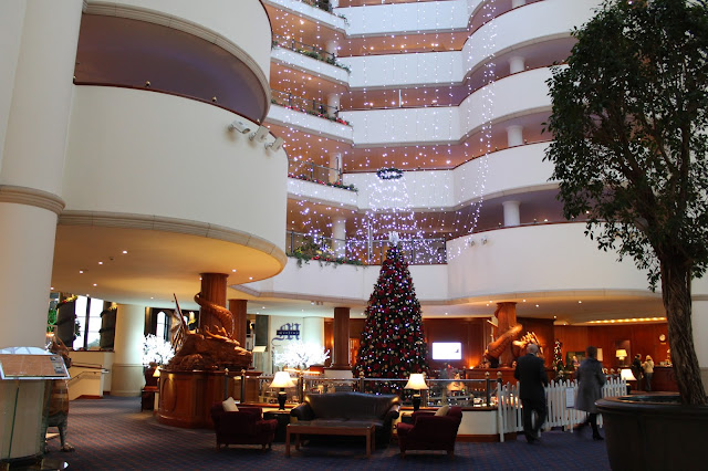 the celtic manor newport main hotel lobby at christmas time
