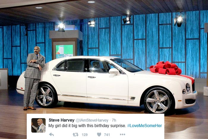 Steve Harvey Got A Brand New Bently For 59th Birthday From Wife (Photos)