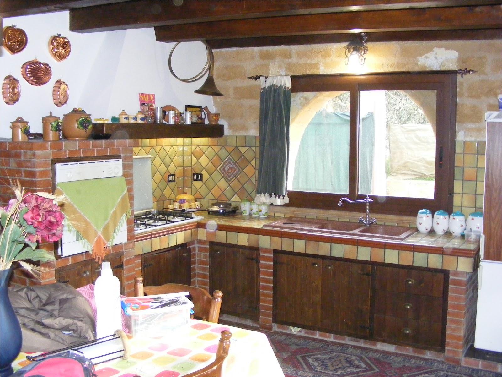 I miei lavori di intonaco stampato e pietra naturale cucina rustica - Costo cucine in muratura ...