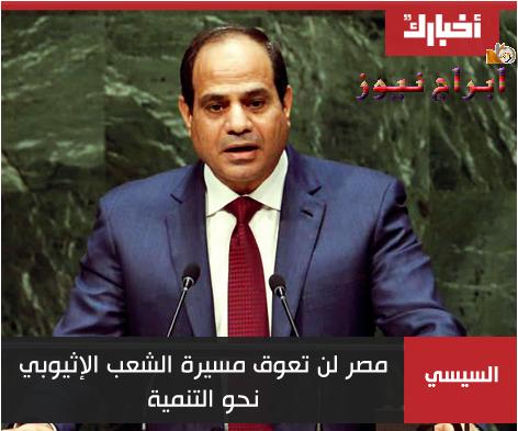 السيسي: مصر لن تعوق مسيرة الشعب الإثيوبي نحو التنمية