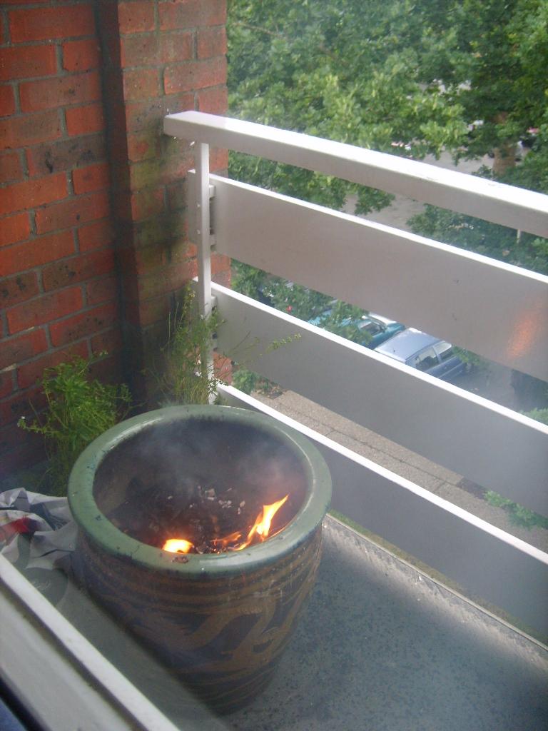grill na balkonie w doniczce