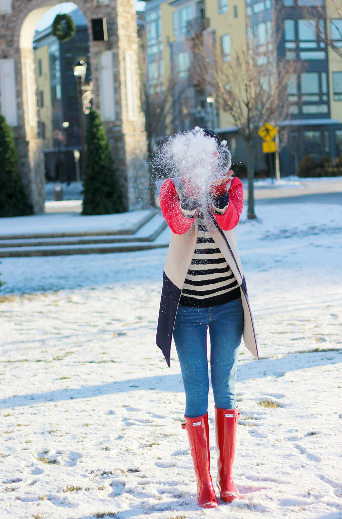 JCrew Factory Colorblock Coat, Red Hunter Boots, Hunter Boots For Snow, Forever Striped Sweater