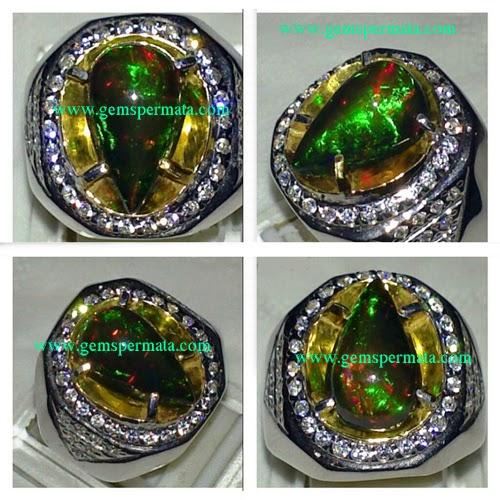 Cincin Kalimaya Hitam Black Opal