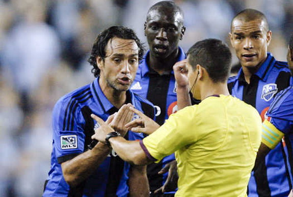 Montreal Impact defender Alessandro Nesta reacts as he is ejected from the game against Sporting KC
