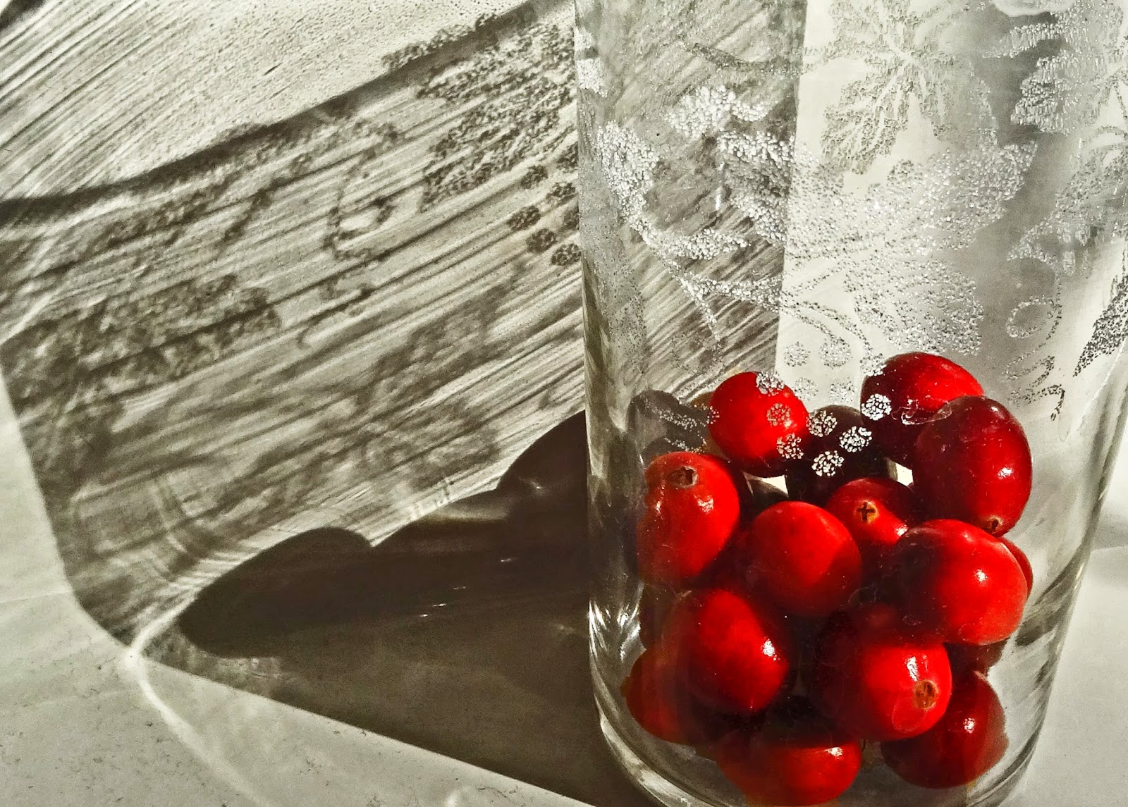 Etched Cranberry Glass Oil Lamp Shade