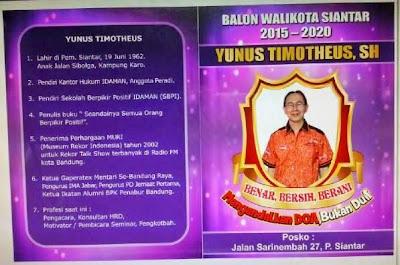 Profil Lengkap Yunus Timotheus Balon Walikota Siantar
