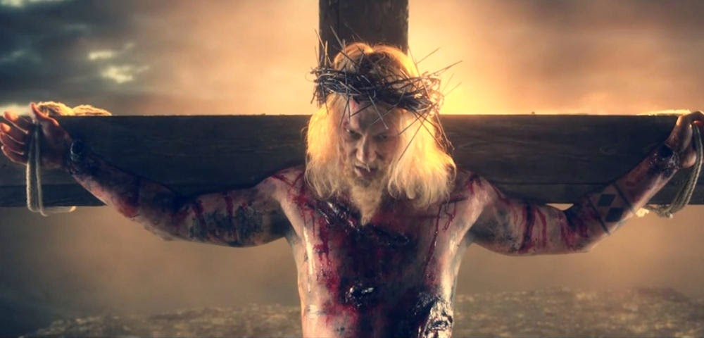 "Dudeson-Jesus (Jukka Hilden), from ""Iron Sky - Jesus Attack"" trailer. Make-up FX: Ari Savonen."