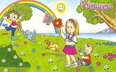 Dibujo de la primavera con niños y flores