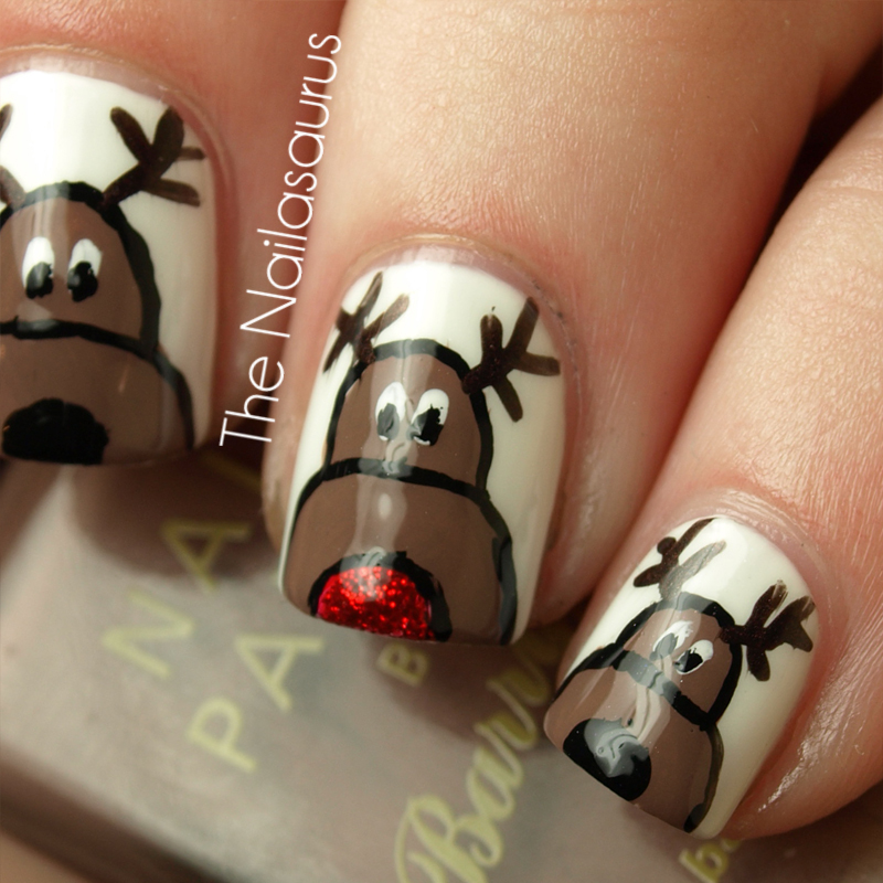 12 days of christmas nails day 2 reindeer nail art the ill list all the ones i can remember and you guys can fill me in on the rest dancer prancer donner blitzen comet cupid vixen prinsesfo Choice Image