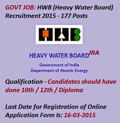 Job Recruitment Alerts Hwb Heavy Water Board Recruitment 2015