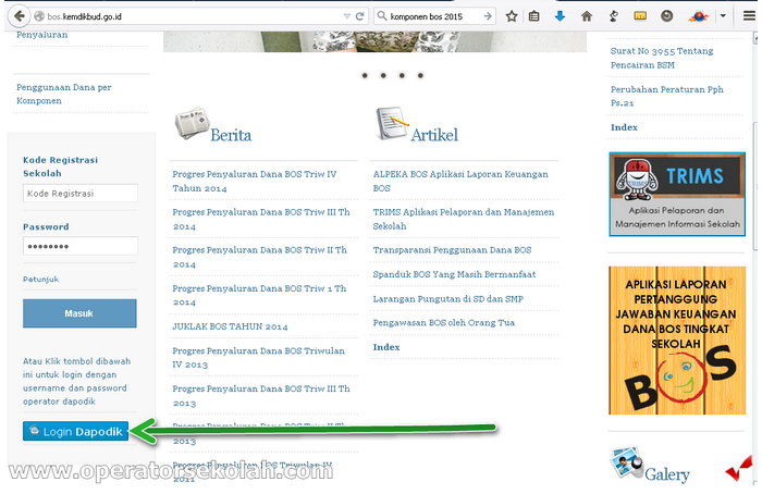 login bos online 2015 menggunakan Dapodik