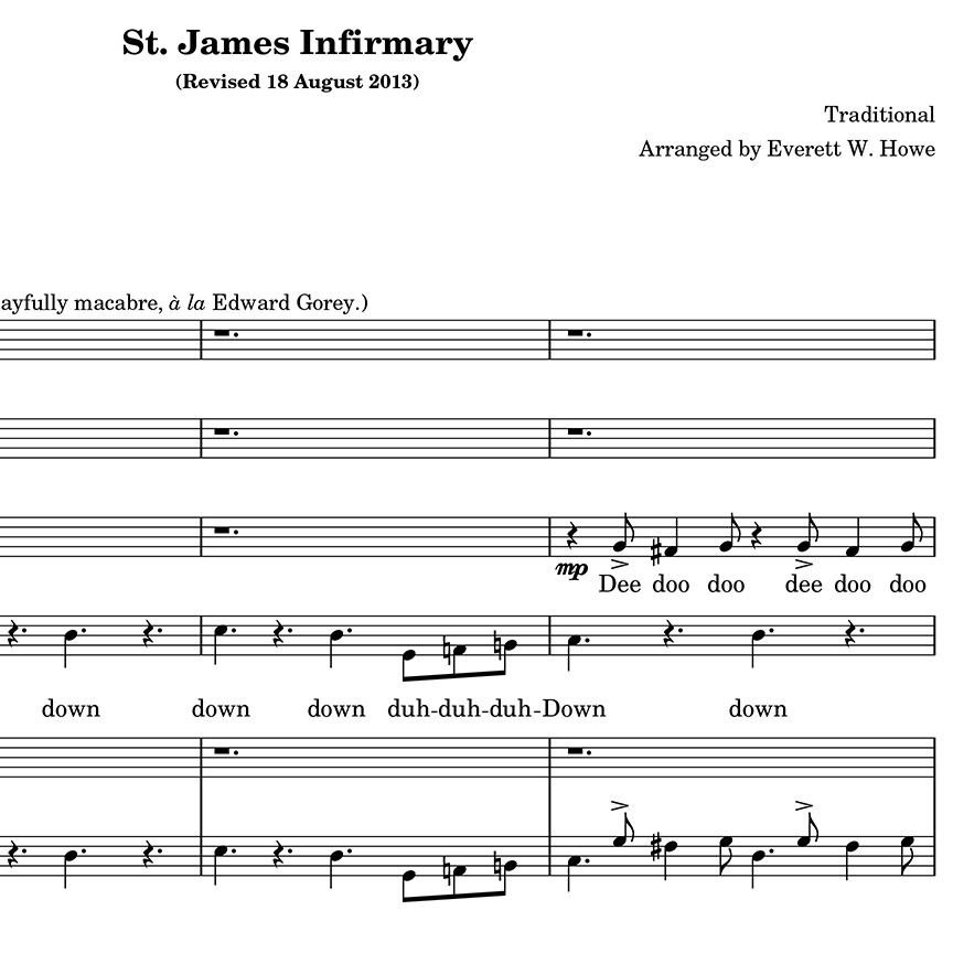 All Music Chords runaway sheet music : I Went Down to St. James Infirmary: 2013