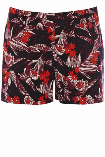 ladies red print shorts