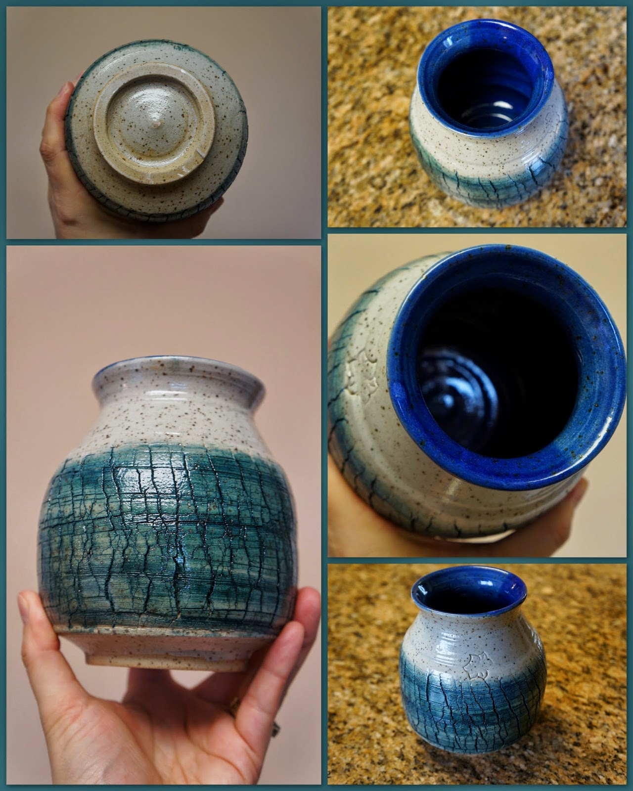 Sodium silicate crackled vase with teal stain to bring out the texture.