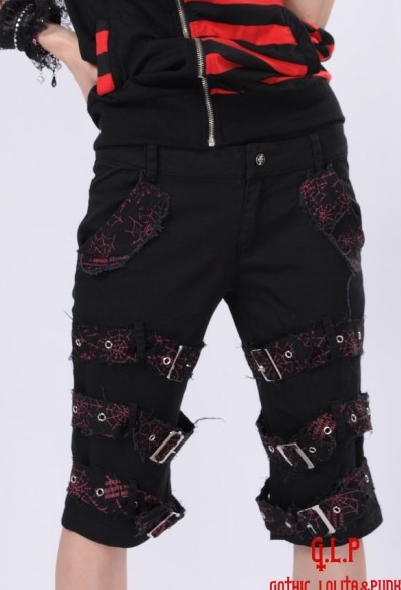 Black Buckle Belts Short Punk Pants for Women