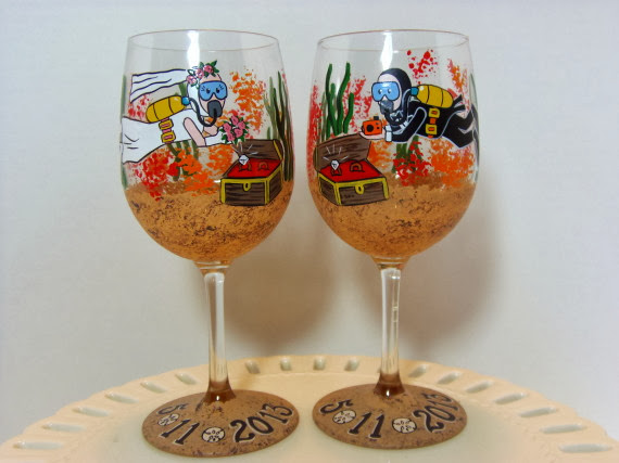 scuba diver wine glasses