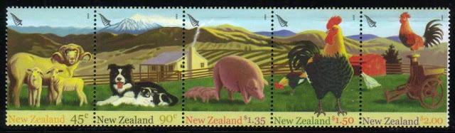 2005年ニュージーランド ボーダー・コリーの親子と家畜たちの切手