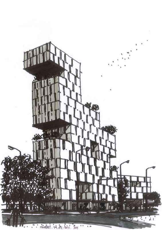 Dibujos de arquitecto architect drawings 190211 figueres - Trabajo arquitecto barcelona ...