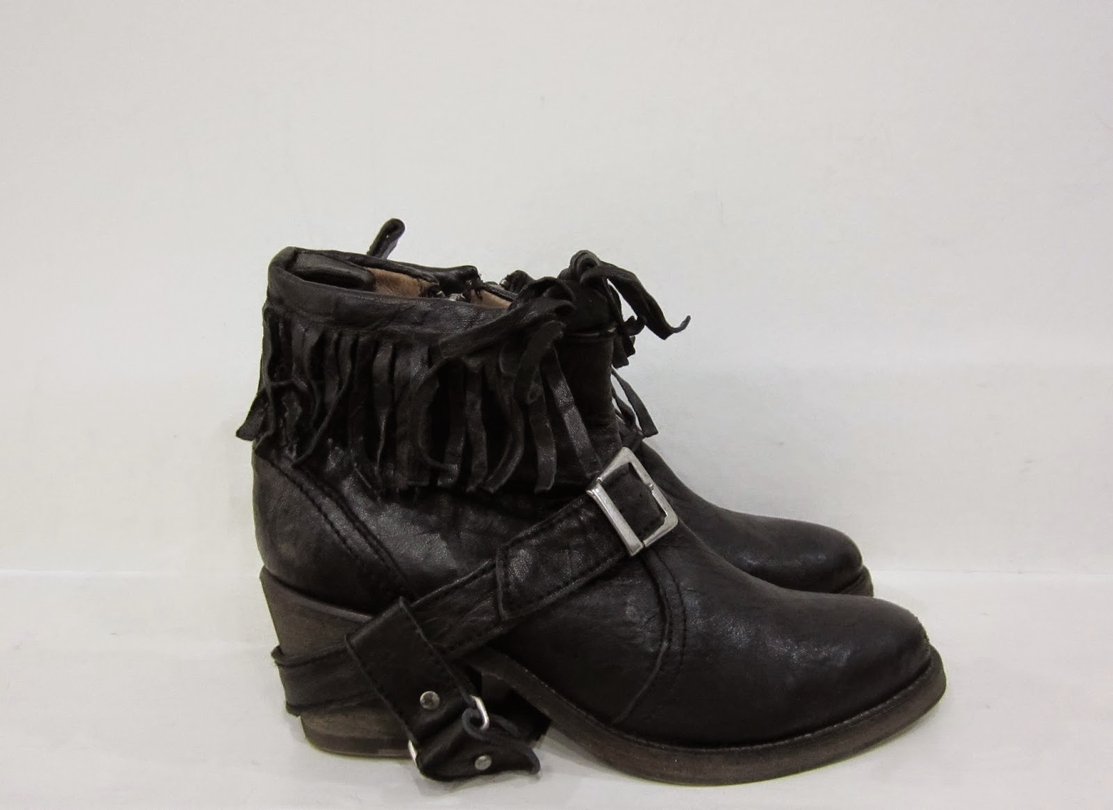 All Saints Black Leather Ankle Boots with Fringing