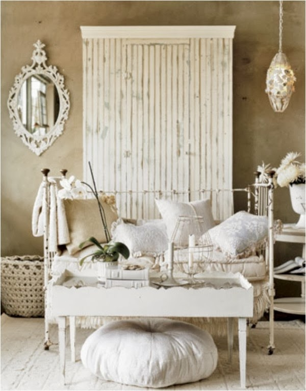 shabby chic white and cream living room